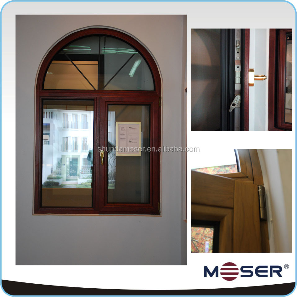 Wooden arch top triple glazed windows and doors pictures and price