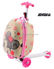 JK-170531 PC Printing Kid's Scooter Luggage Three Wheels Stand up Travel Suitcase