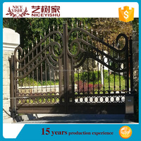 Hot sale Galvanized farm iron gate(Factory,ISO9001)/Handmade Medium Wrought Iron Gate For iron Fence/main gate designs