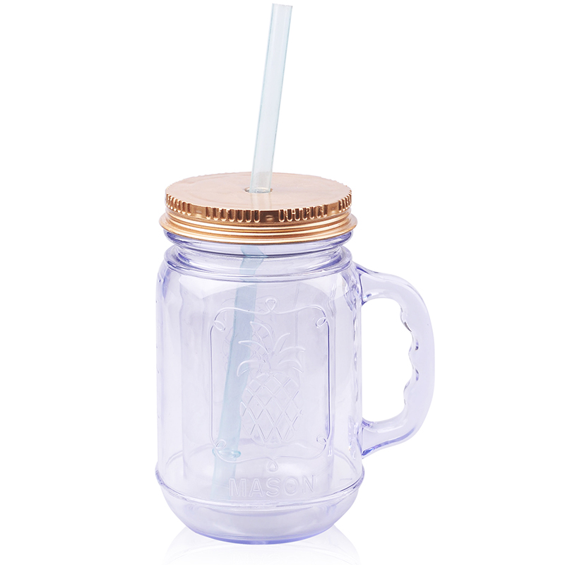 2017 Hot Sale Thicken Plastic Mason Jar With Lid And Straw