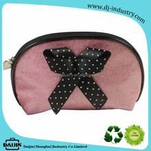2018 half round shape shiny pink pearly lustre pvc mini cosmetic bag