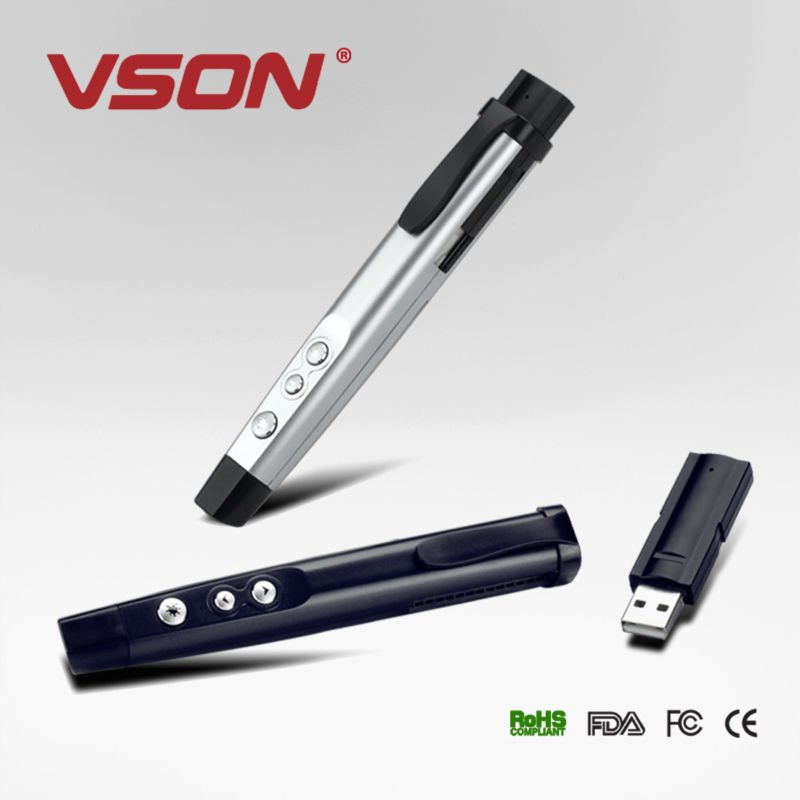 VSON hot sale cheapest Wireless presenter remote control promotional multimedia laser pointer presenter integrative design