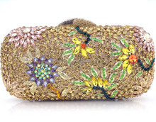Wholesle Indian wedding purse bridal rhinestones crystal clutch bags in Gold