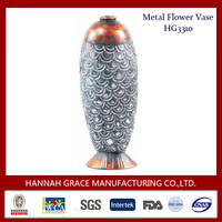 Well Decorated Antique Metal Flower Vase