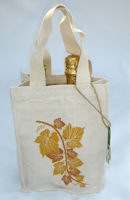 DOBLE BOTTLE WINE BAG 100% PERUVIAN ORGANIC COTTON RE-USABLE