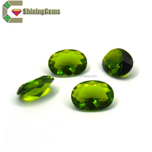 facet charm round shaped saturated color green glass gems