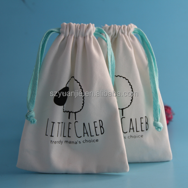 custom logo printing calico cotton jewelry bag with drawstring