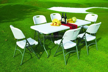 Foldable Tables Outdoor Events Steel Frame Durable High Density Polyethylene Resin Poly Cheap Plastic Folding Tables