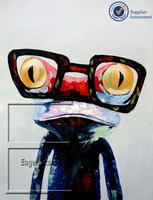 Wholesale High Quality Handmade Canvas Modern Frog Animal Oil Painting Wall Art Decoration