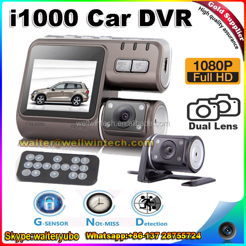 Factory Cheap Dual Camera Car <strong>DVR</strong> i1000 Full HD 1080P Dual Lens Dash Cam Recorder With Night Vision G-sensor remote control