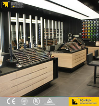 High quality retail cosmetic store layout wood display showcase design