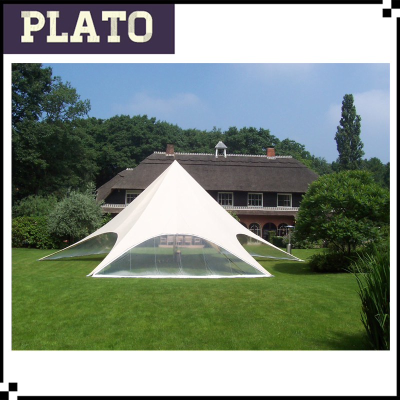 Giant White star tent with clear side walls For Vacation Event