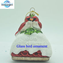 Artificial Christmas glass kissing love birds ornament from Shenzhen factory