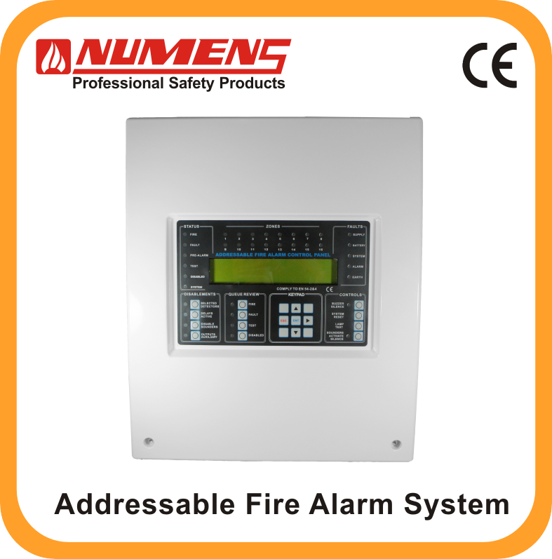 UK standard High Quality Addressable System 16 Zone Fire Alarm Control Panel from Numens