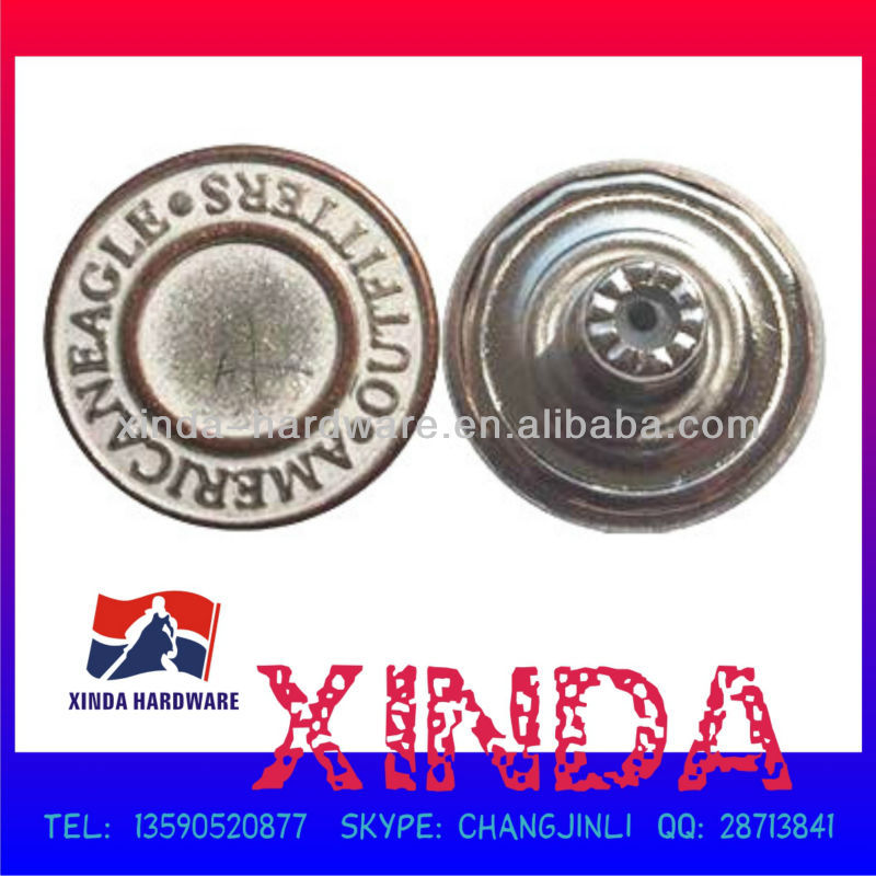 20mm Jeans button,Made of Brass,Embossed pattern with plating finishing