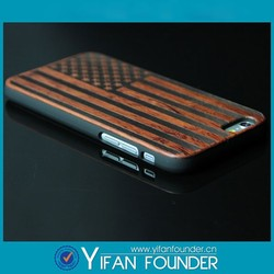 American flag pc wood phone case for iphone 6, for iphone 6 plus pc wood cover