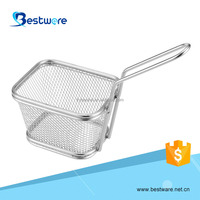 Eco-friendly stainless steel cooking french fries wire mesh deep filter non-stick mini fry basket