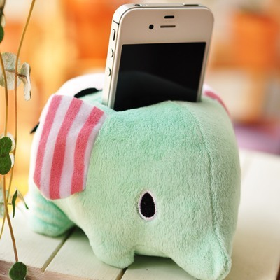 Super cute soft cartoon anime plush mint green little elephant mobile phone holder toy,creative family decorated gift for lovers