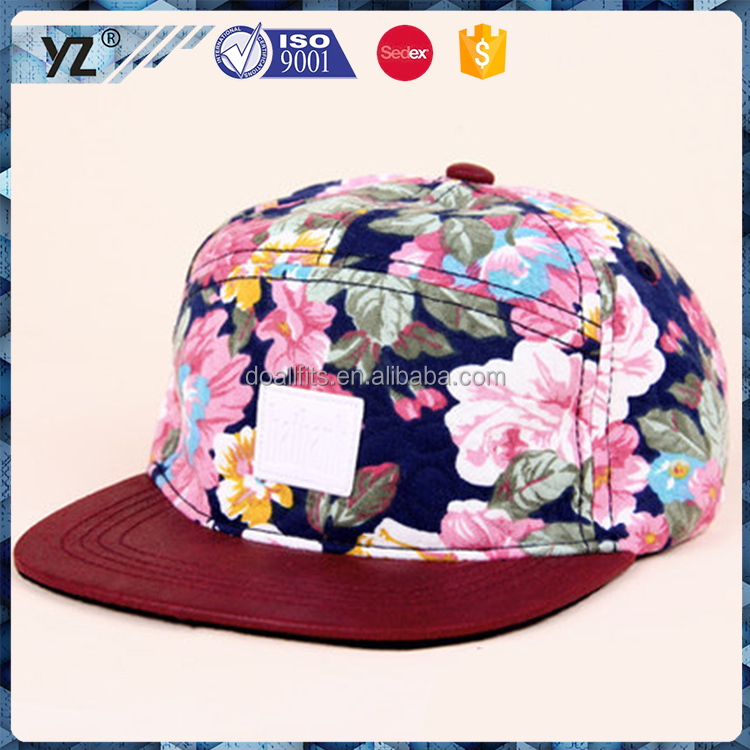 High Quality Wholesale Caps Custom 5 Panel Hat snapback hats/sport caps/printing leather badge 5-panel hat/