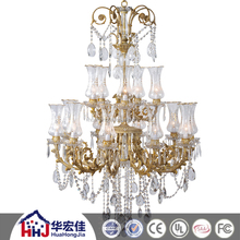 hotel project modern factory large brass lighting chandelier with clear crystal