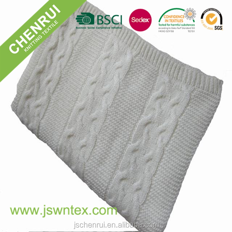 hot selling acrylic mohair knitted throw blanket with low MOQ