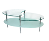 Morden New design Oval glass top 3 layer Coffee Table