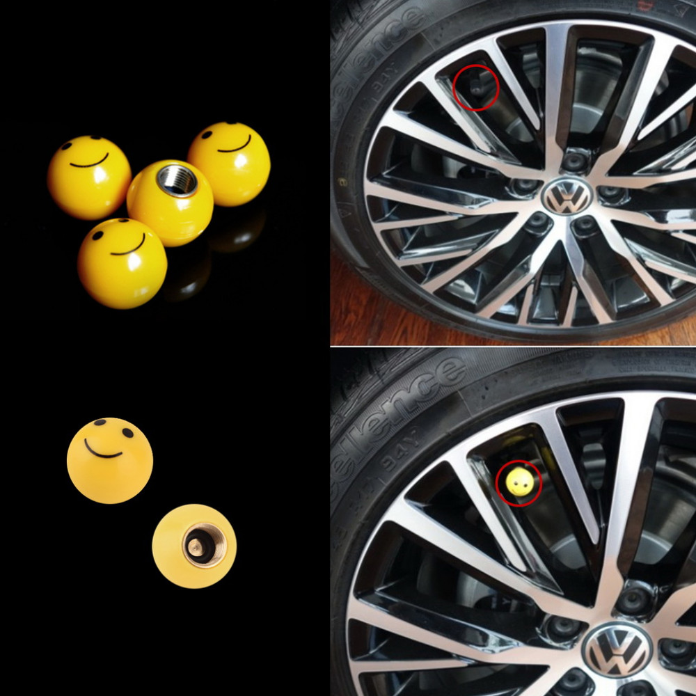 Tire Air Valve Cap Tyres Wheel Dust Stems Smile face caps Bolt in Type Ventil Valve for Auto Car Truck Motorcycle~
