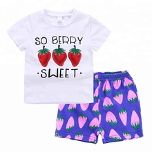 Hippokids 2018 summer strawberry alphabet outfits girl's boutique clothing