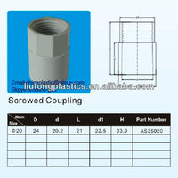 AS 2053 Electrical PVC screwed coupling/plastic coupling/PVC pipes
