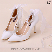 OW19 Wholesales Wedding White lace high heel lady wedding shoes