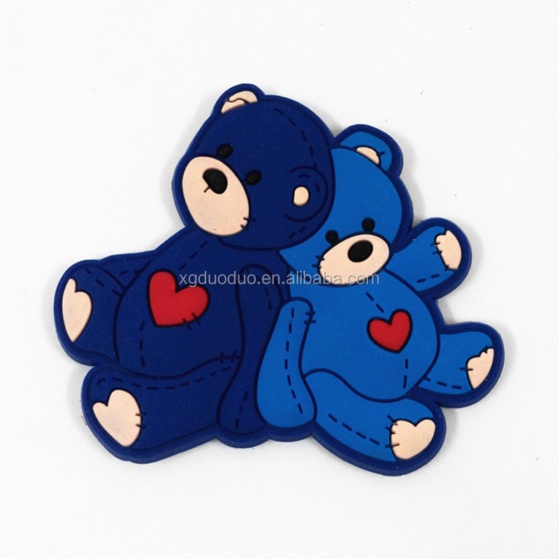 Custom 2d silicone bear shaped silicone fridge magnet
