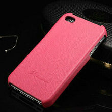 Wholesale mobile phone casing fashion cute litchi leather hard back custom case for iphone 4
