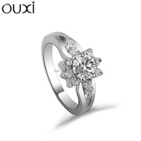 OUXI 2016 factory price flower shape platinum plated with Austrian diamond ring for wedding 40109