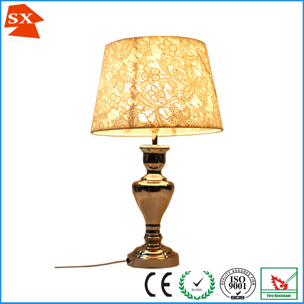 European style chrome table lamp shade champagne color jacquard european style chrome table lamp shade champagne color jacquard cloth lampshade frames wholesale greentooth Gallery