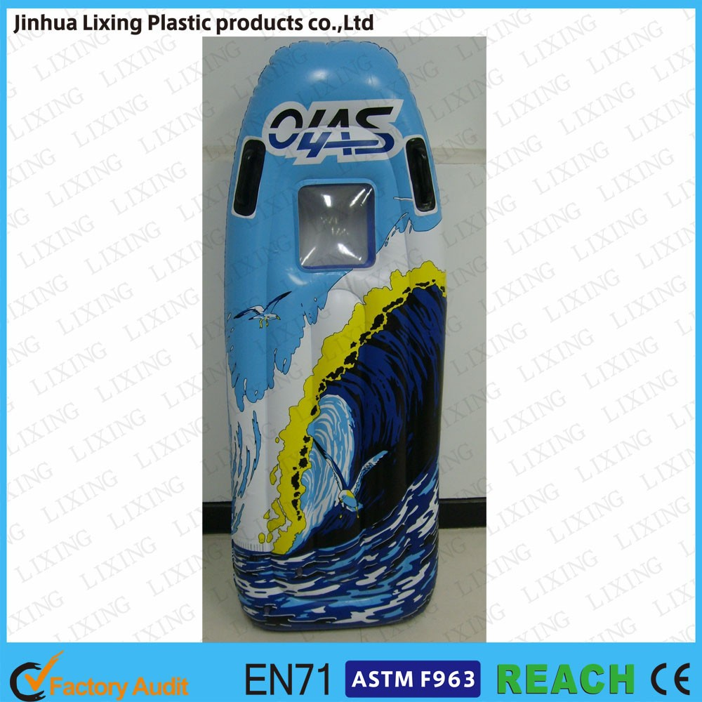 Beautiful inflatable surfboard for kids,PVC inflatable air board,surfboard with window and handles