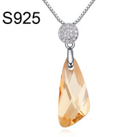 Free shipping Made With Swarovski Element crystal necklace jewelry silver