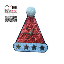 New design sequin applique santa hat sew on sequin patches for Christmas sale