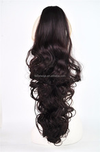 Nature medium curls white and black hair wig long ponytail female N015