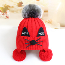 Factory wholesale 0-3 years old baby cute cartoon warm ear wool knitted cat hat with fox fur pom pom