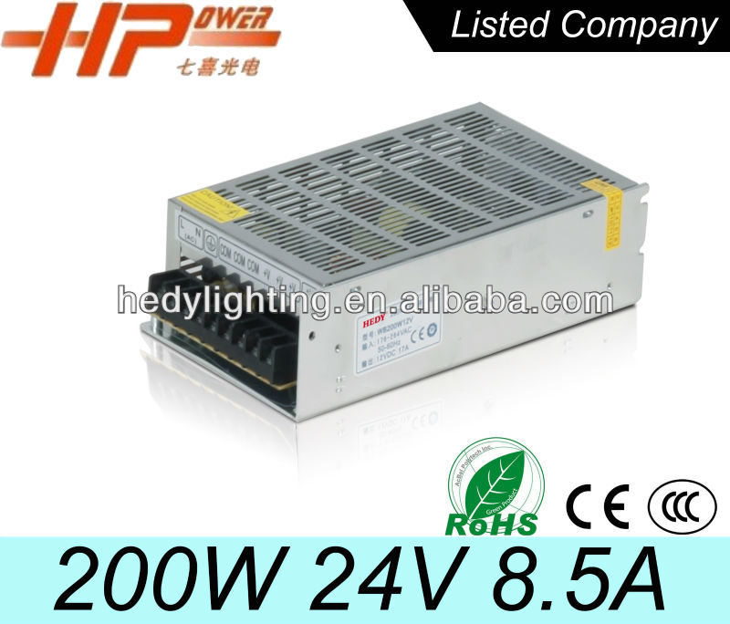 High reliability good quality CCC CE RoHS single output constant voltage ac dc output led 200W 24V 8A switching power supply