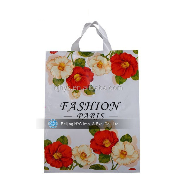 China OEM production LDPE /HDPE customed printed cosmetic plastic tote bags with handles