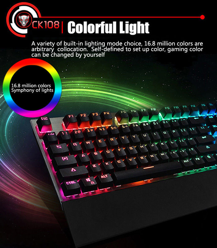 Motospeed CK108 w/ 18 Backlight Mode USB Wired Mechanical Keyboard