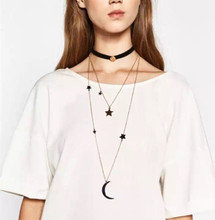 New design women jewelry big brand ,multilayer long chain with star ,moon pendant necklace