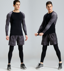 wholesale custom reflective logo men gym wear sports clothes black fitness leggings men's t shirt with quick dry function