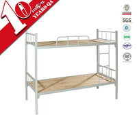 Commercial school dormitory furniture bunk beds / 2 sleeper wood and steel bunk bed