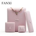 FANXI Wholesale Elegant Pink Stamping Jewellery Packaging Boxes For Ring Pendant Necklace Holder Custom Velvet Jewelry Box
