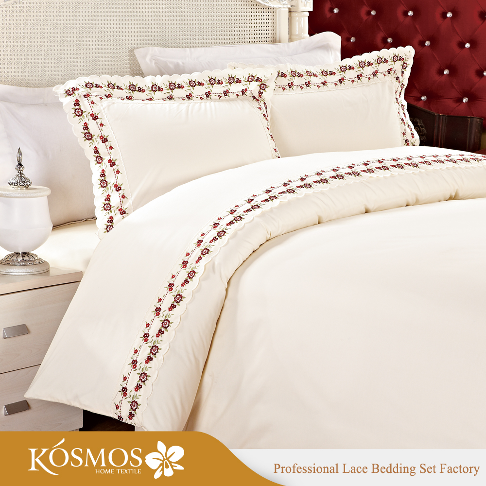 KOSMOS Bedding Polycotton Embroidery Lace Hand Embroidery Designs for Bed Sheets