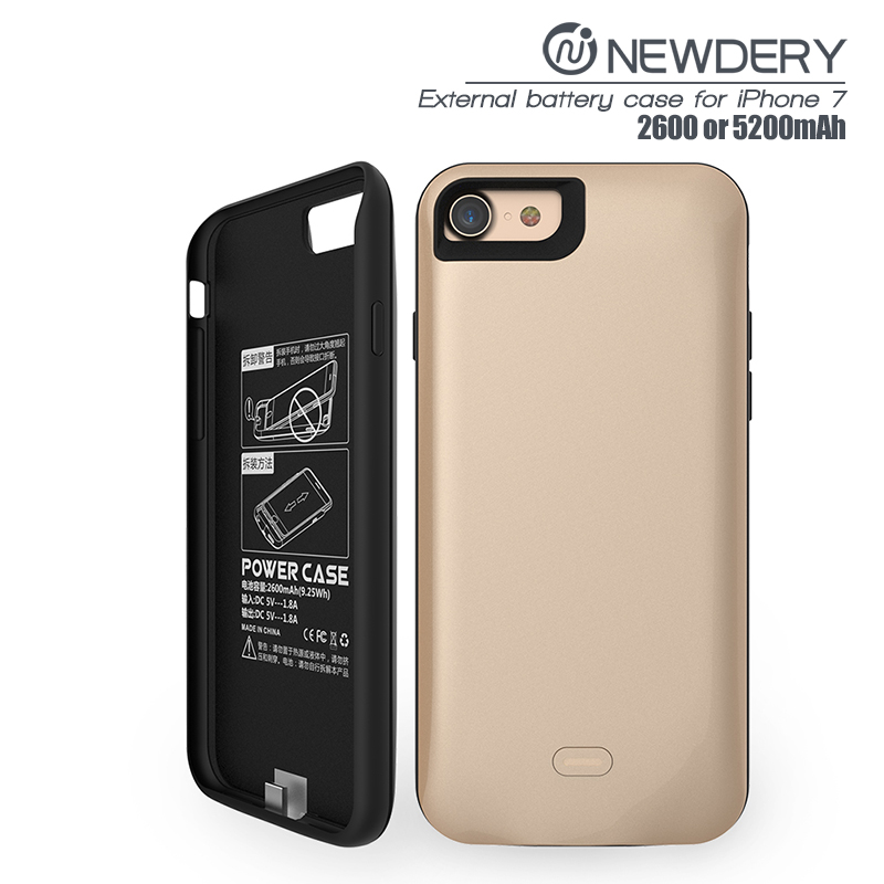 FOR Iphone 7 battery case 5200mah power bank cell phone for iphone7 power charging case black