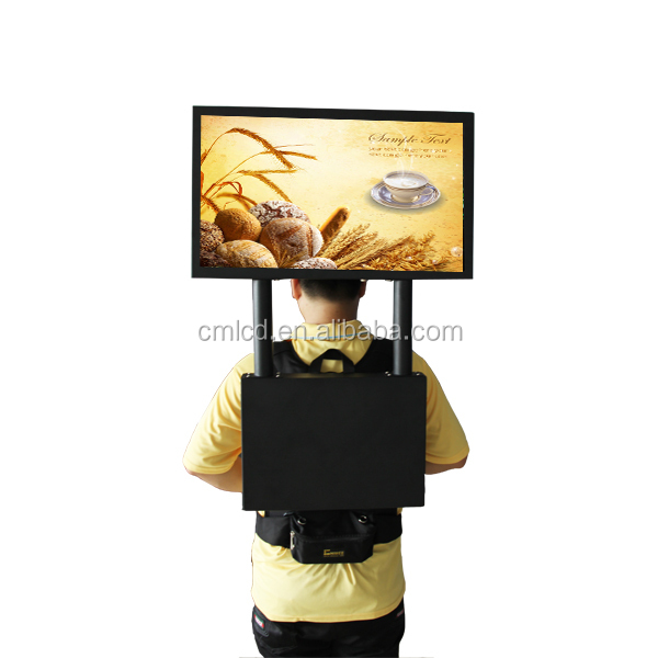 22'' TFT LCD Human LED display with gps navigation backpack banner display