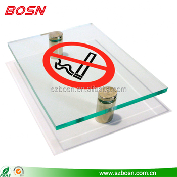 Wholesale clear no smoking board acrylic wall sign standoffs with aluminum screw